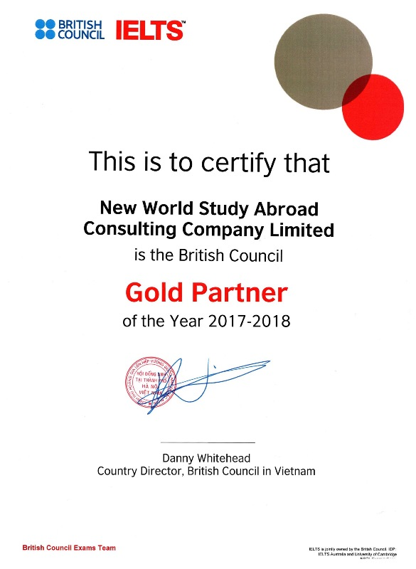 Gold Partner of the Year 2017-2018 - British Council